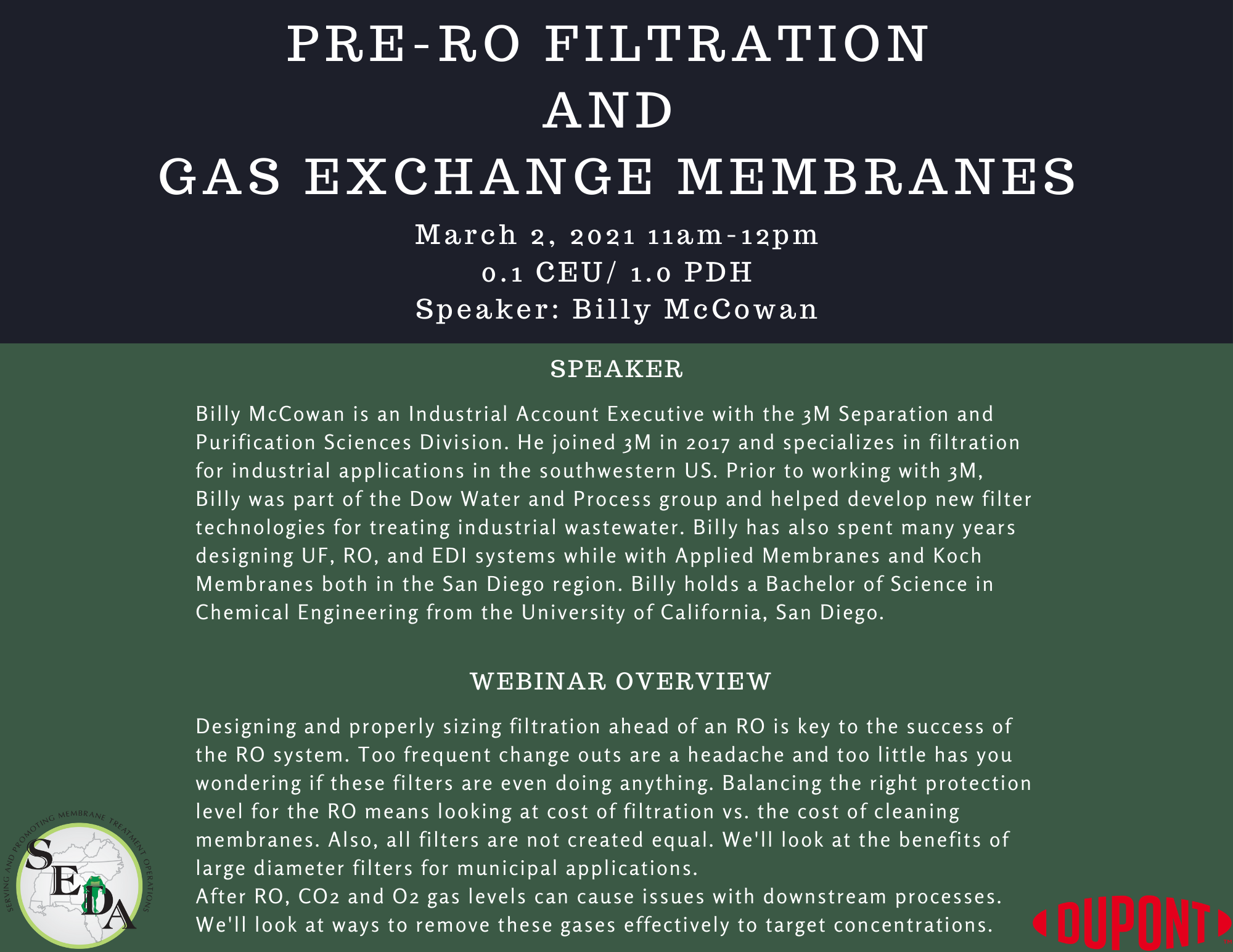 Pre-RO Filtration and Gas Exchange Membranes